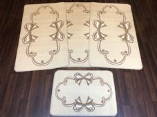ROMANY GYPSY WASHABLES SET OF TOURER SIZES 67X120CM MATS/RUGS CREAM/BEIGE BOWS